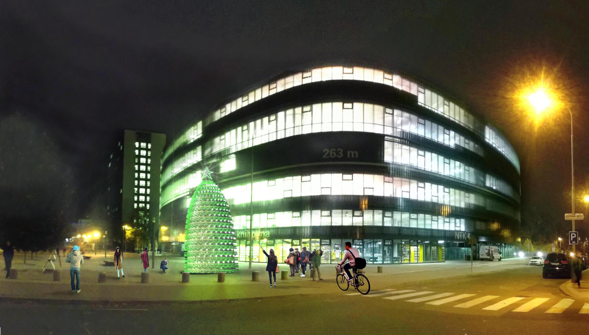 Rozsvícený strom před NTK v kampusu ČVUT